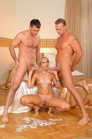 Hot Blonde Playing With Two Dicks-09