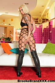 Sexy Brooke In Black Fishnets On White Couch-08