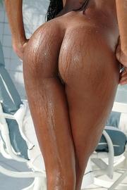 Hot Ebony Slut Aline Poolside-14
