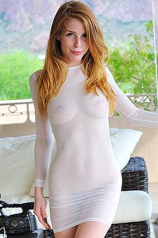 Horny Redhead In Sexy Seethrough Dress