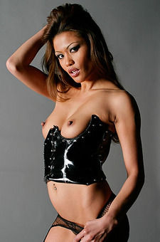 Charmane Star In Sexy Black Latex Corset