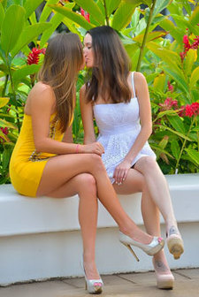Secret Kiss In A Public Garden