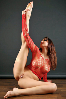 Cindy In Sexy Red Fishnet