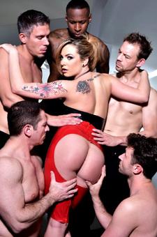 Hot Blonde Bombshell Pornstar Strips Out Her Latex Skirt