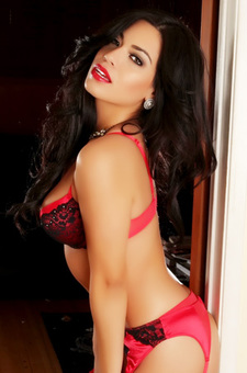 Beautiful Alluring Vixen Babe Letty Shows Off Her Stunning Body In A Sexy Skimpy Red And Black Bra And Panties Set
