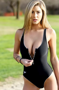 Savannah Black Zipper Swimsuit