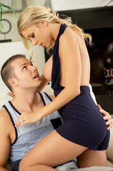 Busty Blonde Slut Katie Morgan Seduces A Lucky Guy
