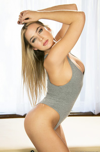 Blair Williams Sreip Off Her Grey Bodysuit